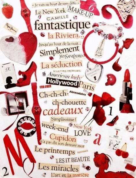 Ce collage rouge est composé des mots et des tendances de la mode