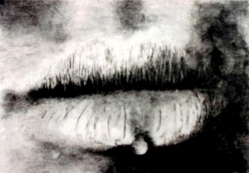 Dessin d'une bouche réalisé au fusain