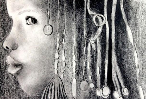 Ce dessin représente le profil d'une jeune africaine avec des perles dans ses cheveux.