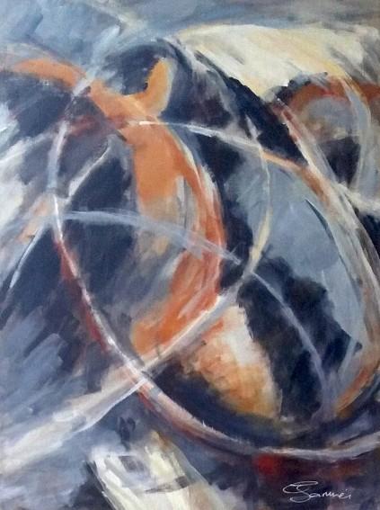 Cette peinture acrylique souligne le mouvement d'un personnage