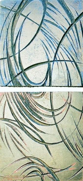 Diptyque de plaques de linoléum représentant des courbes