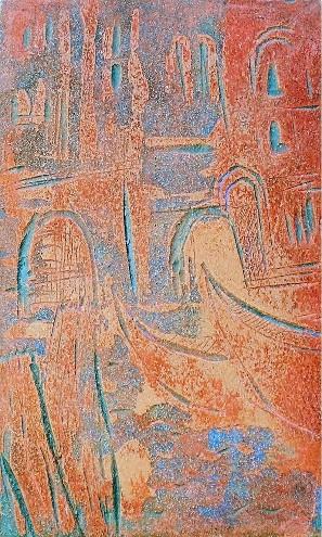Cette image est la plaque de linoléum gravée qui a permis de faire la gravure sur la vision de Venise.