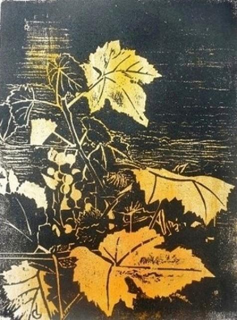 """""""Vitis"""" gravure sur bois de Caroline Lesgourgues"""