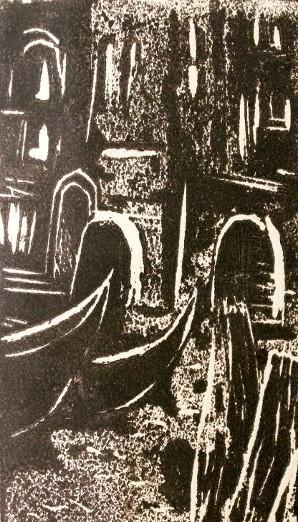 Linogravure de Venise réalisée par Caroline Lesgourgues